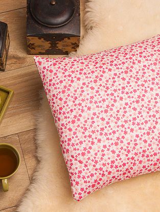 Alice Rose Pink Quilted Cushion Cover(L-16in,W-16in)