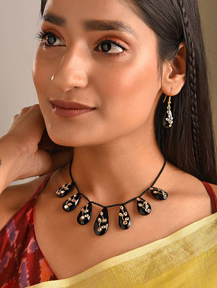 Gold Plated Sterling Silver Necklace Set With Black Onyx