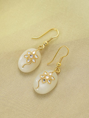 Gold Plated Sterling Silver Earrings With Moon Stone