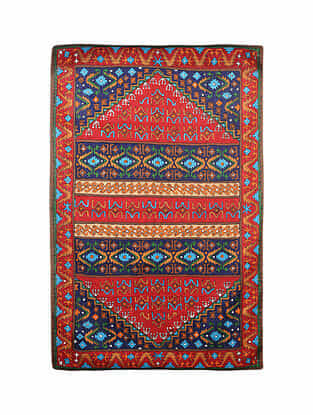 Multicolor Hand Embroidered Chainstitch Rug (L - 5.10ft, W - 3.10ft)