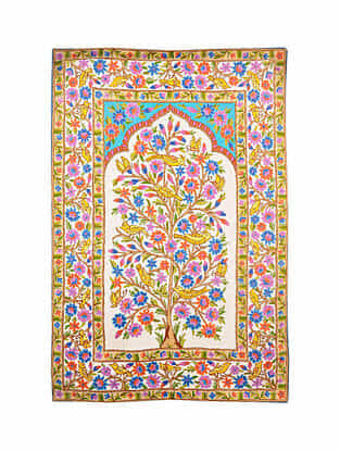 Multicolor Hand Embroidered Chainstitch Rug (L - 5.10ft, W - 3.11ft)