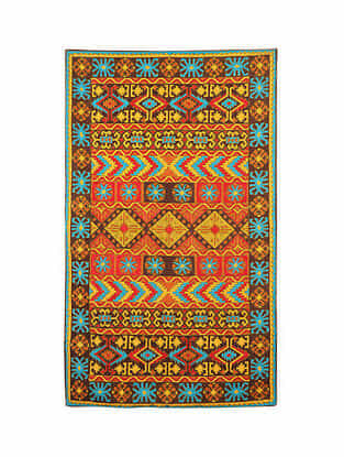 Multicolor Hand Embroidered Chainstitch Rug (L - 5ft, W - 3ft)