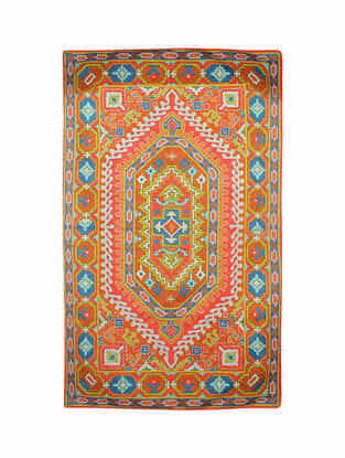 Multicolor Hand Embroidered Chainstitch Rug (L - 4.10ft, W - 2.11ft)