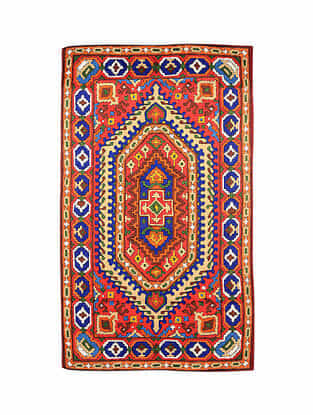Multicolor Hand Embroidered Chainstitch Rug (L - 5ft, W - 2.11ft)