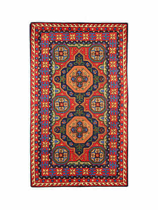 Multicolor Hand Embroidered Chainstitch Rug (L - 5.FT, W - 3ft)