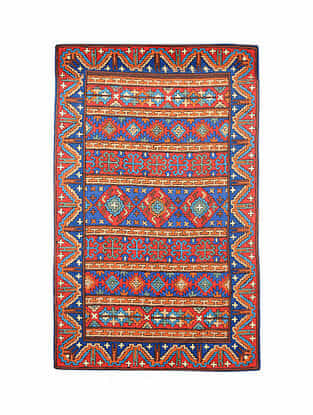 Multicolor Hand Embroidered Chainstitch Rug (L - 4.11ft, W - 3ft)