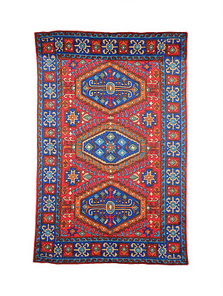 Multicolor Hand Embroidered Chainstitch Rug (L - 6ft, W - 3.11ft)