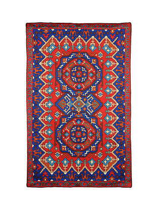 Multicolor Hand Embroidered Chainstitch Rug (L - 5.9ft, W - 3.10ft)