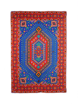Multicolor Hand Embroidered Chainstitch Rug (L - 5.11ft, W - 3.11ft)