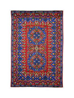 Multicolor Hand Embroidered Chainstitch Rug (L - 5.10ft, W - 4ft)