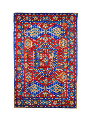 Multicolor Hand Embroidered Chainstitch Rug (L - 6ft, W - 4ft)