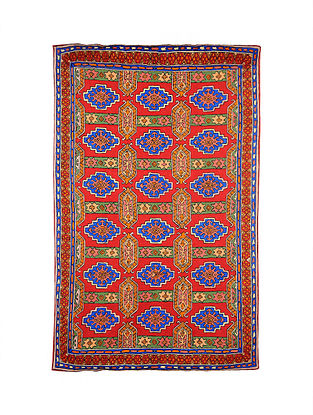 Multicolor Hand Embroidered Chainstitch Rug (L - 6ft, W - 3.10ft)