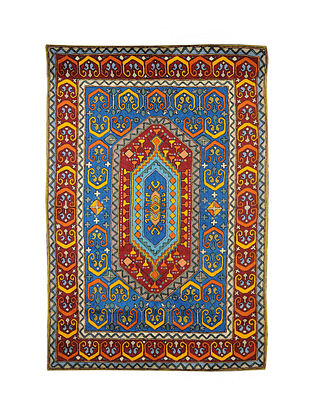 Multicolor Hand Embroidered Chainstitch Rug (L - 5.9ft, W - 3.11ft)