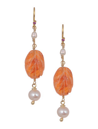 Carved Carnelian Gold Tone Silver Earrings with Pearls