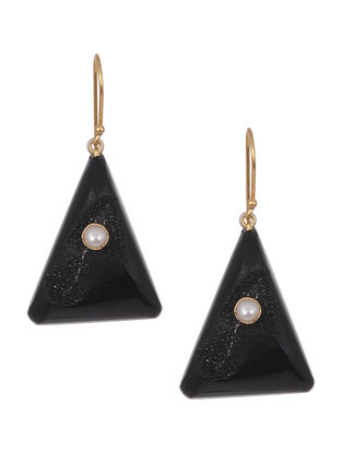 Black Agate Gold Tone Earrings with Pearls