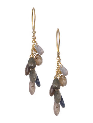 Gold Tone Silver Earrings with Multisapphire