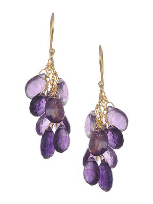 Gold Tone Silver Earrings with Amethyst