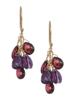 Amethyst Garnet Gold Tone Silver Earrings