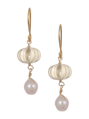 Carved Citrine Gold Tone Silver Earrings with Pearls