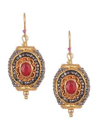 Ruby Gold Tone Silver Earrings