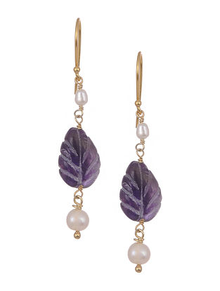 Carved Amethyst Gold Tone Silver Earrings with Pearls