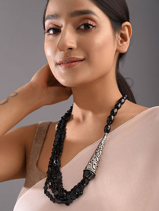 Black Agate Tribal Silver Beaded Necklace