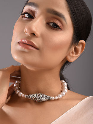 Tribal Silver Beaded Necklace with Freshwater Pearls