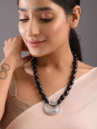 Onyx Tribal Silver Beaded Necklace