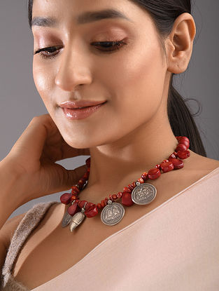 Agate Tribal Silver Beaded Necklace