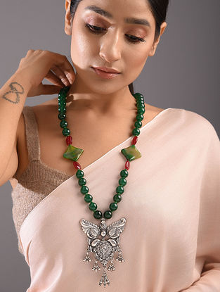 Green Agate Beaded Tribal Silver Necklace