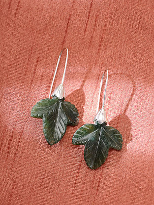 Green Silver Handcrafted Earrings With Aventurine