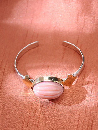Silver Handcrafted Cuff with Pink Opel