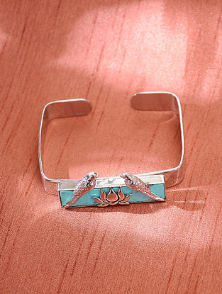 Turquoise Blue Silver Handcrafted Cuff