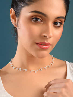 Pink Silver Handcrafted Necklace With Pearls