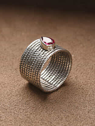 Silver Handcrafted Ring (Size: 14)