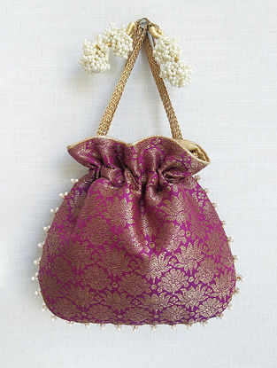 Purple Handcrafted Banarasi Silk Potli