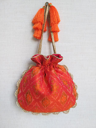Orange Handcrafted Ikat Raw Silk Potli