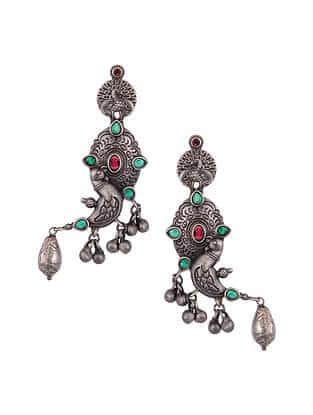 Red Green Silver Tone Tribal Earrings