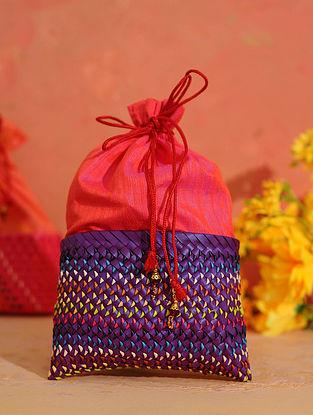 Purple Red Handcrafted Palm Leaf Potli