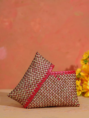 Red Handcrafted Palm Leaf Pouch