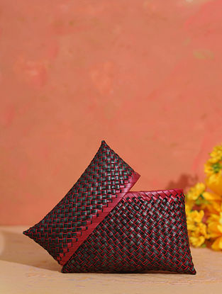 Maroon Handcrafted Palm Leaf Pouch