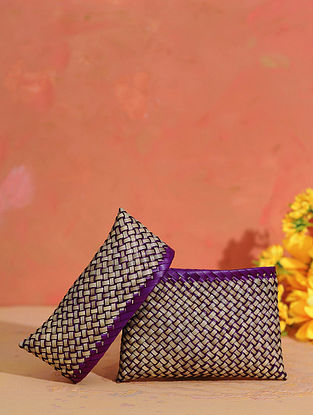 Purple Grey Handcrafted Palm Leaf Pouch