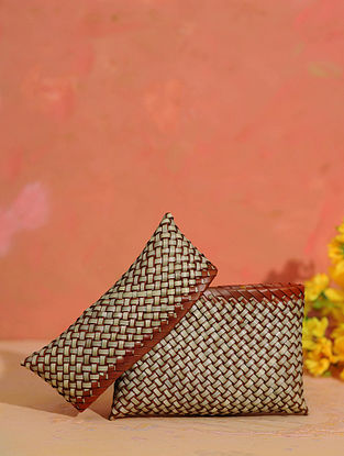 Brown Grey Handcrafted Palm Leaf Pouch