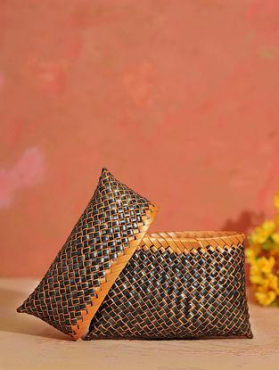 Orange Black Handcrafted Palm Leaf Pouch