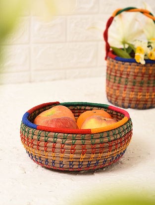 Multicolored Handcrafted Pine Needle Grass Storage Basket (L - 5.6in, W - 5.6in, H - 3in)