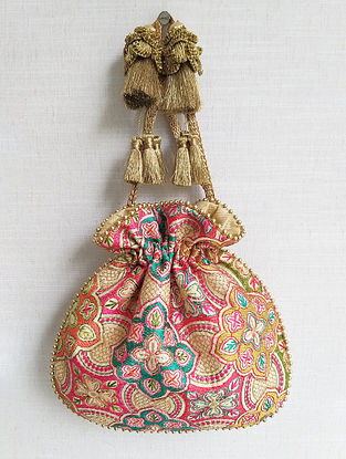 Multicolored Hand Embroidered Poly Silk Potli
