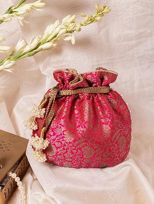 Pink Handcrafted Banarasi Silk Potli