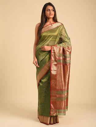 Green Maheshwari Tissue Saree