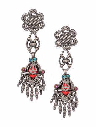 Multicoloured Vintage Silver Earrings