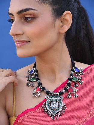 Multicoloured Vintage Silver Necklace